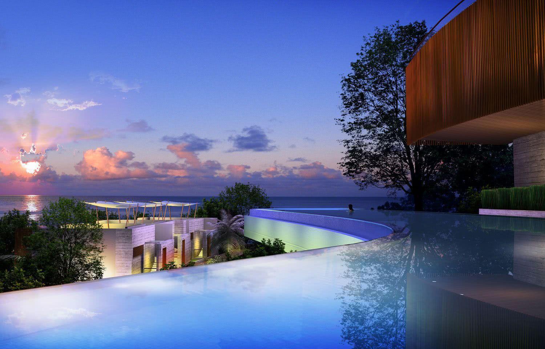 Les courbes de la piscine vous permettent de profiter de la vue sous différents angles.