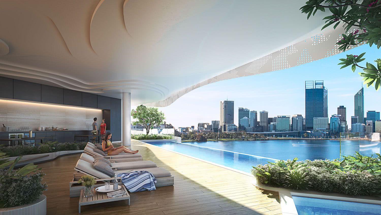 Un espace très bien conçu qui allie loisirs et vue sur les toits de la ville.