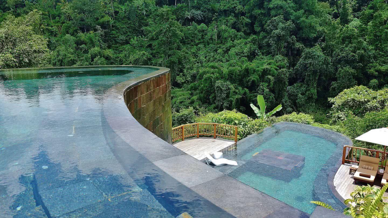Le vert de la piscine est en harmonie avec la végétation en arrière-plan, faisant la jonction avec la nature