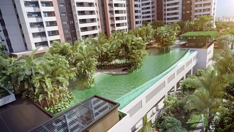 Immeuble résidentiel avec piscine à débordement
