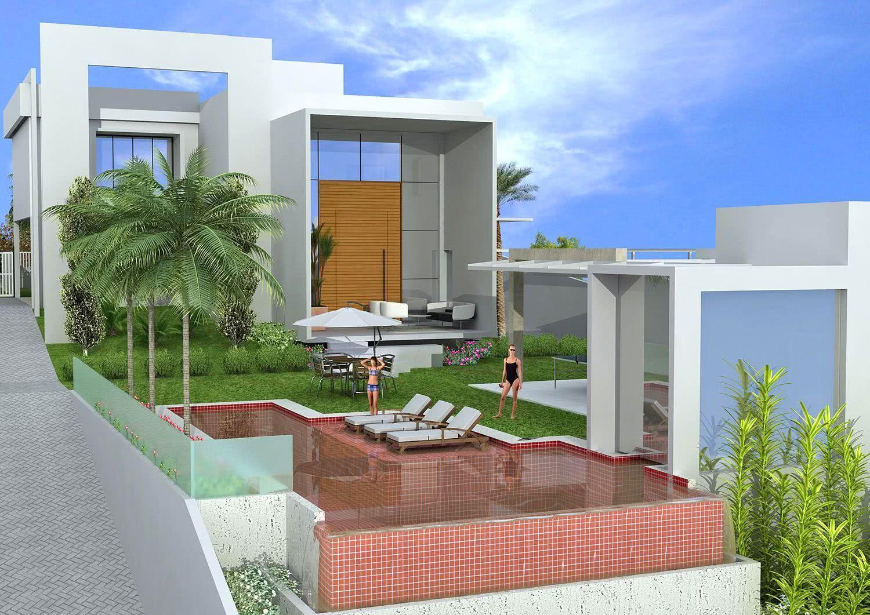 Les carreaux colorés mettent davantage en valeur l'architecture de la piscine
