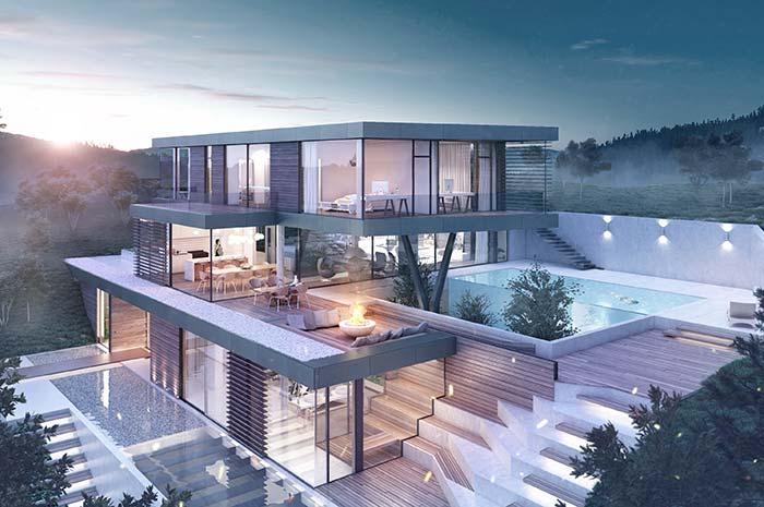 Maison de trois étages parfaite avec une vue imprenable