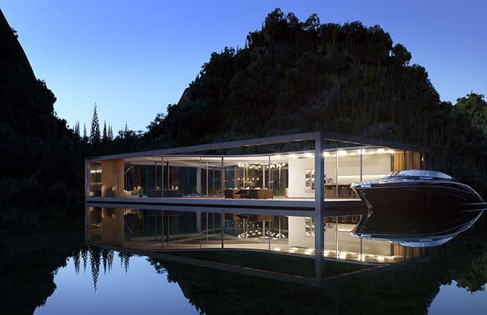 Maison parfaite flottant sur le lac
