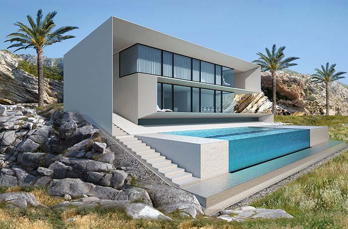 Maison moderne et minimaliste parfaite construite sur des pierres