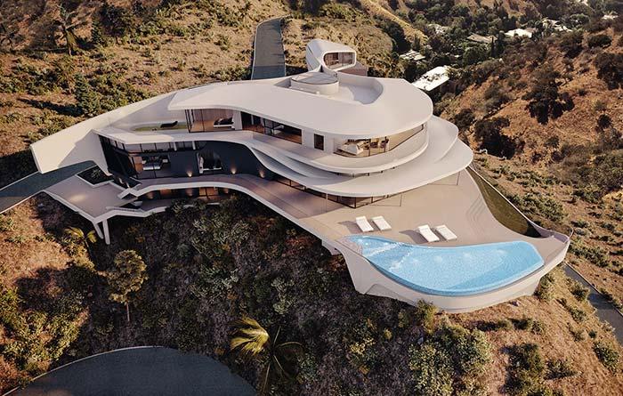 Maison futuriste coincée dans les montagnes