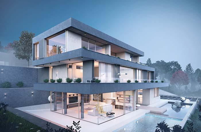 Maison avec environnements intégrés divisée en trois étages