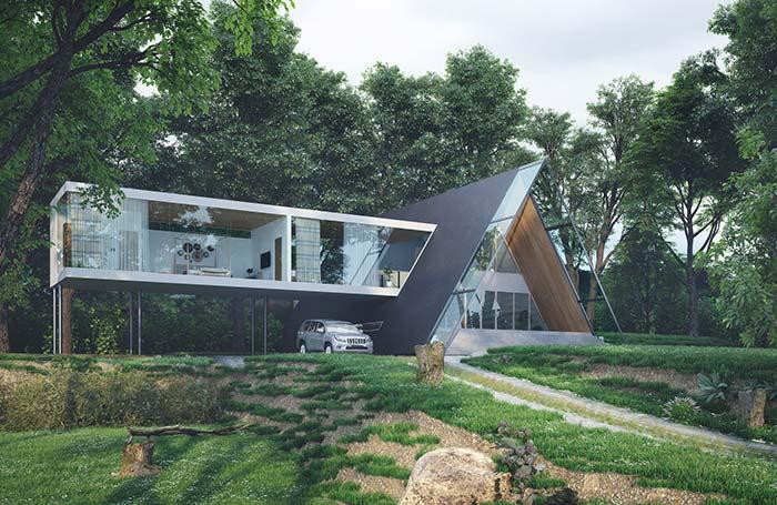 Maison parfaite à l'architecture camouflée