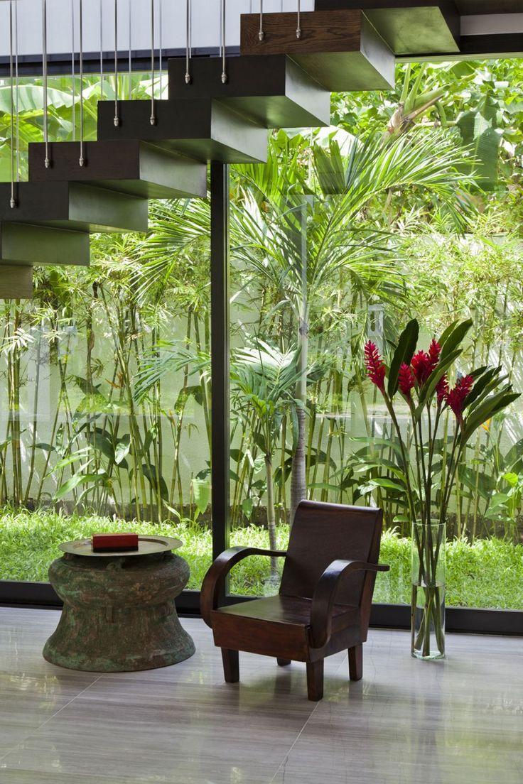 Les grandes plantes aident à donner un autre aspect au mur